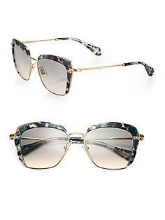 Miu Miu Mock Half-Rim 53mm Square Sunglasses - Havana shade