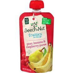 Beech-Nut Stage 2 Fruities On-The-Go Pear, Banana & Raspberry Puree Baby Food, 4 oz