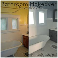 The Power of Paint: Shades of Grey Apartment Bathroom Reveal #PaintJob Deglosser and Bondz- great products to try.