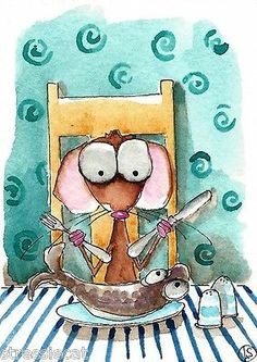 Fishy dinner... it's looking at me! ACEO Original Watercolor Folk Art Whimsical Painting Mouse Dish Fishy Dinner | eBay