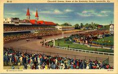 vintage louisville ky   Kentucky Derby Churchill Downs Louisville Vintage Postcard.
