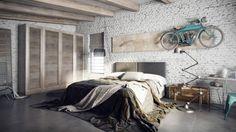 Chambre avec mur en brique peint en blanc