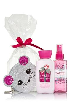 Twisted Peppermint - Cute Critter Coin Purse Gift Set - Bath & Body Works - Oh what fun it is to give & get these sweet little treats! Convenient travel size Body Lotion & Fine Fragrance Mist (3 fl oz each) are the ultimate must-haves for the girl on the go. Plus, a flirty mouse coin purse, finished with sparkles & a shiny silver zipper, helps her keep her treasures handy.
