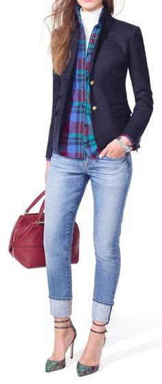 Tartan & Navy Blazer w/Jeans. Just change the shoes to a cute pair of flats.