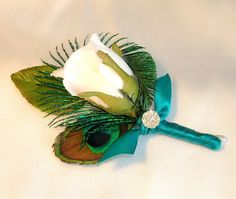 Reserved For Stephenie 3 Peacock Wedding Boutonnieres by sljbridal, $93.00