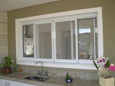 janelas guilhotina de aluminio - Pesquisa Google Sliding Windows, Big Windows, Windows And Doors, Kitchen Interior, Kitchen Design, Aluminium Windows, Window Frames, Window Design, Room Doors