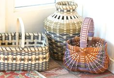 My first three baskets from the basket-making workshop in Edmonton, July 2017.