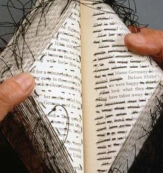 Can do redacted poetry, too - just stitch through all the words you don't want (instead of marking them out) Stitched altered book - Lisa Kokin Paper Book, Paper Art, Libros Pop-up, Altered Book Art, Book Sculpture, Art Textile, Handmade Books, Handmade Notebook, Book Journal