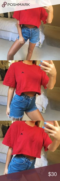 red crop adidas tee super cute and comfy red cropped adidas tee. classic red with black adidas symbol. perfect tee to throw on with some jeans, shorts or sweats when in a hurry, and still manage to look stylish! size large, fits a small or medium best •• in perfect condition 🌹 hand cropped with luv 💕 adidas Tops Crop Tops