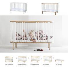 5-in-1 Babybett / Kinderbett FLEXA BABY, Massivholz , Schlupfsprossen, 70x140cm