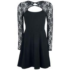 Black Lace Long Sleeve Dress - Kort klänning från Gothicana by EMP