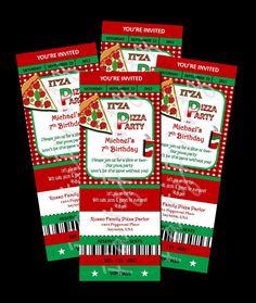 Printable  Pizza Party    Ticket Invitations Custom by PartyPrintz, $12.00