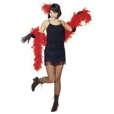 Disfraz Charlestón Negro o Rojo Talla XL. Bonito disfraz de años 20.