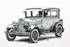 Art by Wendy: Cruising Along in the Old Model A - ink & coloured pencil - Available for purchase - A Classic Car with lots of class and character! 1928 Model A Ford - Classic Car Art Vintage Cars, Antique Cars, Drawings Pinterest, Ford Classic Cars, Car Sketch, Car Drawings, Old Models, Pyrography, Wolverine