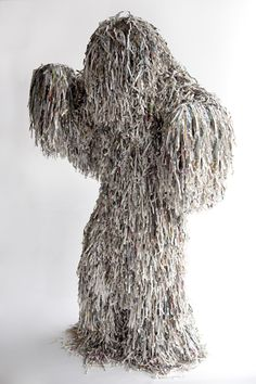 Costume sculpture of shredded newspaper, by Fabiop Lattanzi Antinori and Alicja Pytlewska