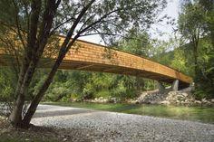 Bicycle bridge across Sava River in Bohinjska Bistrica, Slovenia, by DANS arhitekti. Photo by Miran Kambic