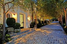 tree lined driveway. This one: Paul Williams‒designed Bel-Air home at 651 Siena Way built by philanthropist George Castera in Driveway Design, Driveway Landscaping, Walkway, Outdoor Spaces, Outdoor Living, Tree Lined Driveway, Beautiful Homes, Beautiful Places, Merida