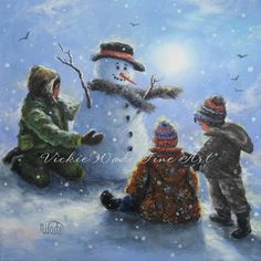 Snowman and Three Boys on Blue Art Print by VickieWadeFineArt