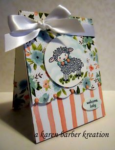 Baby gift bag using Easter lamb stamp Easter Lamb, Baby Lamb, Snowman Crafts, Pretty Packaging, Animal Cards, Cute Cards, Gift Cards, Flower Cards, Baby Cards