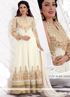 Design and trend will be on the peak of your beauty the moment you dresses this off white georgette anarkali salwar suit. This attractive attire is displaying some remarkable embroidery done with embr...