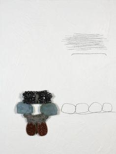 Iris Bodemer – Brooch 2006 Aquamarine, gold stone, hematite, wool