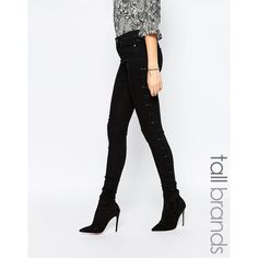 Vero Moda Tall High Waisted Skinny Jeans ($75) ❤ liked on Polyvore featuring jeans, black, super high rise skinny jeans, tall jeans, high-waisted skinny jeans, skinny leg jeans and high rise skinny jeans