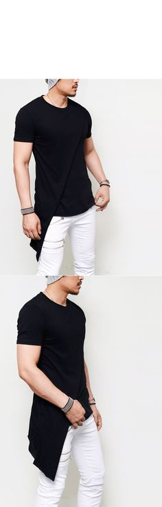 Tops :: Avant-garde Unbalance Diagonal Layer Round-Tee 374 - Mens Fashion Clothing For An Attractive Guy Look
