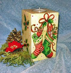 Decoupage, masa solna i 1001 drobiazgów.: świeczniki świąteczne decoupage