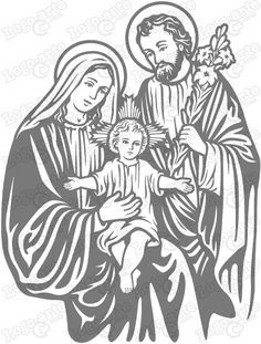 Vector image of the Holy Family for cutting plotter and engraving. Religious Tattoos, Religious Icons, Religious Art, Religious Pictures, Jesus Pictures, Jesus Drawings, Art Drawings, Family Drawing, Wood Burning Art