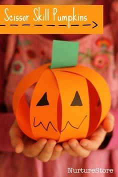 A cute and easy pumpkin craft that great for scissor skills. The focus of this adorable Halloween project is scissor skills, using this cute little pumpkin craft as a way to practice cutting along a straight line.  Get all the directions at:  http://nurturestore.co.uk/easy-pumpkin-craft-scissor-skills