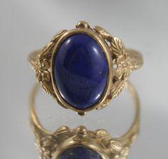 Free post....Amazing Antique 9k,375 gold ring natural 4 ct Lapis Lazuli polished gem,Art Deco style USA sz 10.5/UK- V,September birth stone by…