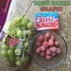 Sour patch grapes.. Super easy healthy treat...can definitely eat more of these than regular grapes...before they got put back in the fridge, the kids, mom and i finished half the bowl-and then we said we need to stop!