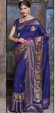 Buy Bhagalpuri Silk Saree Online Blue Elephant Peacock Work C.14.A.18