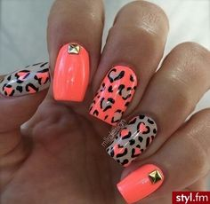 """""""Mepard!"""" - melon orange nail coat based on index and middle finger with a diamond square decal at base of index finger and pinky. then a light brown nude base on thumb and ring finger with the melon leopard decal."""