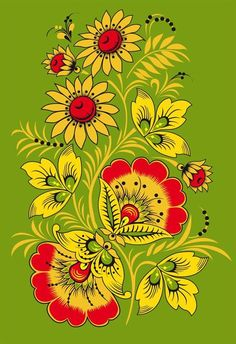Folk Khokhloma painting from Russia. A floral pattern in green, yellow, red and black colours.