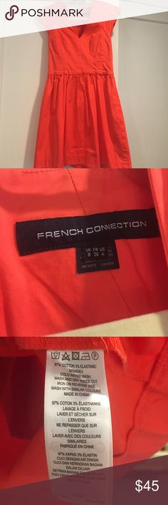 FRENCH CONNECTION DRESS‼️ Bright French Connection Dress with pockets! US Size: 4 very true to size. V- neck, but not too low. Fitted on top. Has small shoulder pads in the cap sleeve. Received many compliments on it! You can dress it up with jewelry or dress it down! French Connection Dresses Mini