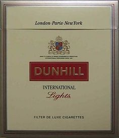A pack of DUNHILL International Lights for n market. Product type Cigarette Produced by British American Tobacco Vintage Cigarette Ads, Cigarette Brands, Cigarette Box, Paris New York, Vintage Metal Signs, Up In Smoke, Cigar Smoking, Do You Remember, The Good Old Days