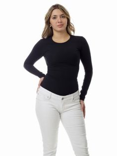 Underworks Women's Ultra Light Cotton Spandex Compression Crew Neck T-shirt with Long Sleeves Trendy Collection, Outdoor Woman, Cotton Lights, Second Skin, Neck T Shirt, Cotton Spandex, White Jeans, Women Accessories, Crew Neck