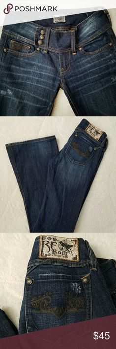 """Flare Jeans Like new! Flare Jeans by Rerock for Express. Extended tab jeans with button closure gives a """"belt"""" Look. Cute brown embroidered pattern on the pockets. Long, 34"""" inseam makes these jeans and awesome pair with heels!! These jeans are sassy! REROCK for EXPRESS Jeans Flare & Wide Leg"""