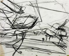 Frank Auerbach (born Title Working Drawing for 'Primrose Hill' Date 1968 Medium Drawing on paper Dimensions support: 251 x 305 mm Collection Tate Line Drawing, Painting & Drawing, Drawing Stuff, Drawing Tips, Frank Auerbach, Working Drawing, Expressive Art, Drawing Projects, Environment Concept Art