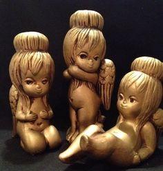 Christmas Angels Gold Chalkware Vintage Japan Mid Century Hearts