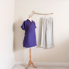 linen outfit wrap top with pants handmade by annyschooecoclothing