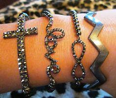 Gunmetal Hemanite Chevron Love Side Cross Bling Arm Candy Bracelets Set (4)