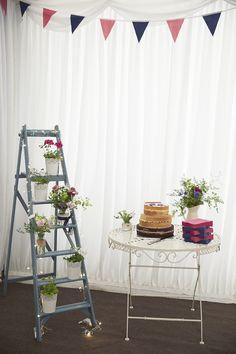 Ladder Flowers Fairylights Bunting Handmade Fuchsia Navy Farm Wedding http://www.nataliejweddings.com/