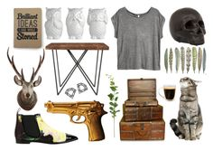 """'Honey, have you seen my gun?'"" by sunshine-and-spiderman ❤ liked on Polyvore featuring interior, interiors, interior design, home, home decor, interior decorating, H&M, CB2, ZENTS and River Island"