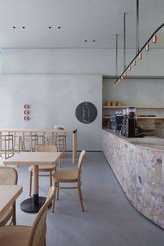 The espresso lab - picture gallery flooring coffee shop, büroeinrichtung, i Design Retro, Design Café, Vintage Design, Store Design, Architecture Restaurant, Hotel Restaurant, Interior Architecture, Modern Restaurant, Restaurant Interior Design