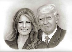 Portrait of President Donald Trump & First Lady Melania Trump, by artist Ronda Lytle West. Donald Trump, First Ladies, Donald And Melania, Trump International, Trump Is My President, West Art, Greatest Presidents, First Lady Melania Trump, Old Mother