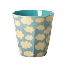Rice Medium Two Tone Cloud Print Melamine Cup: This Medium Two Tone Cloud Print Melamine Cup canbe used for hot and cold drinks, random accessories, or even asa small vase forsmall flowers.Perfect fora party,spontaneous picnicor for long days in the office.