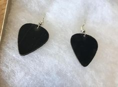 guitar pick earings made from recycled vinyl records