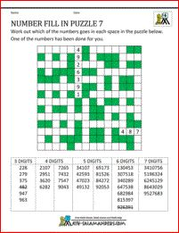 Printable Math Puzzles Number Fill In Puzzle 7